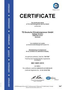 TDDK - Certifications - ISO 14001