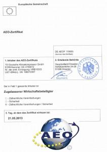 TDDK - Zertifikat - AEO