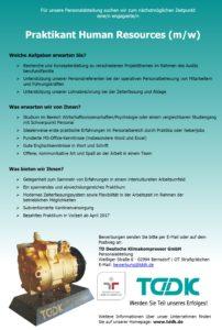 TDDK - Stellenausschreibung - Praktikant/in Human Ressources