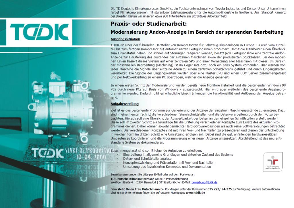 TDDK - Stellenangebote - Praxisarbeit / Studienarbeit