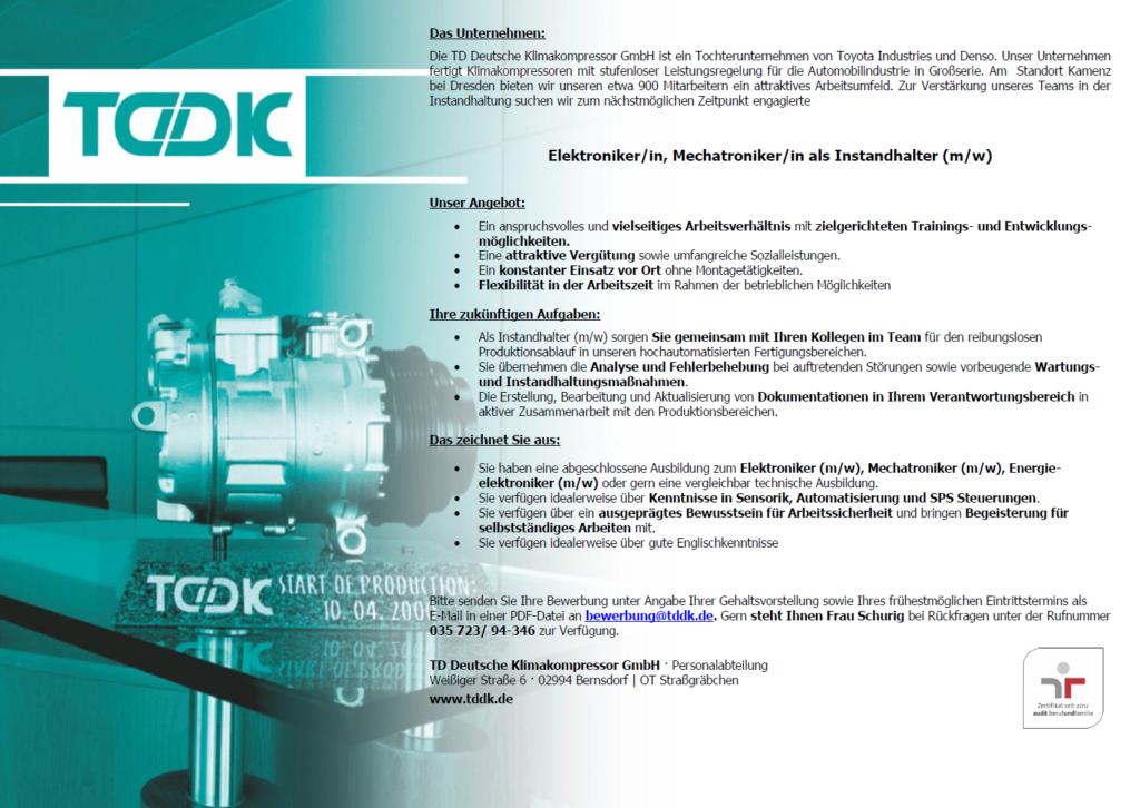 TDDK - Stellenangebote - Elektroniker / Mechatroniker als Instandhalter (m/w)