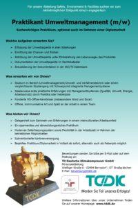 TDDK - Stellenausschreibung - Praktikan/in Umweltmanagement
