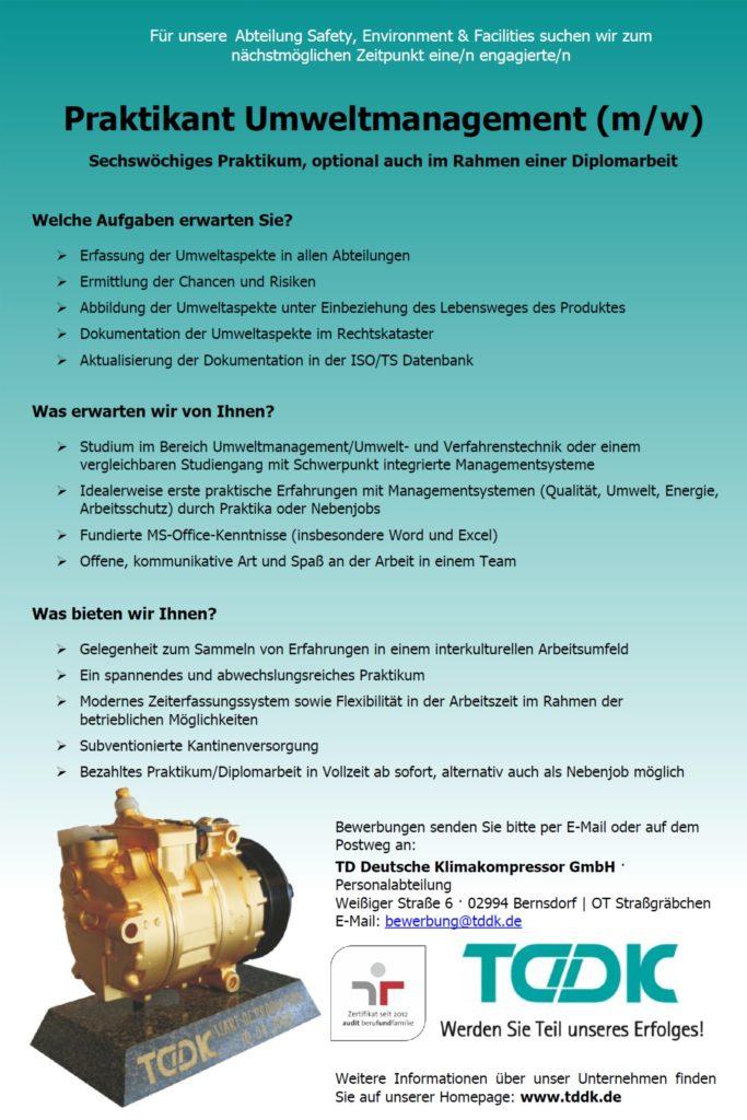 TDDK - Stellenausschreibung - Praktikant/in Umweltmanagement