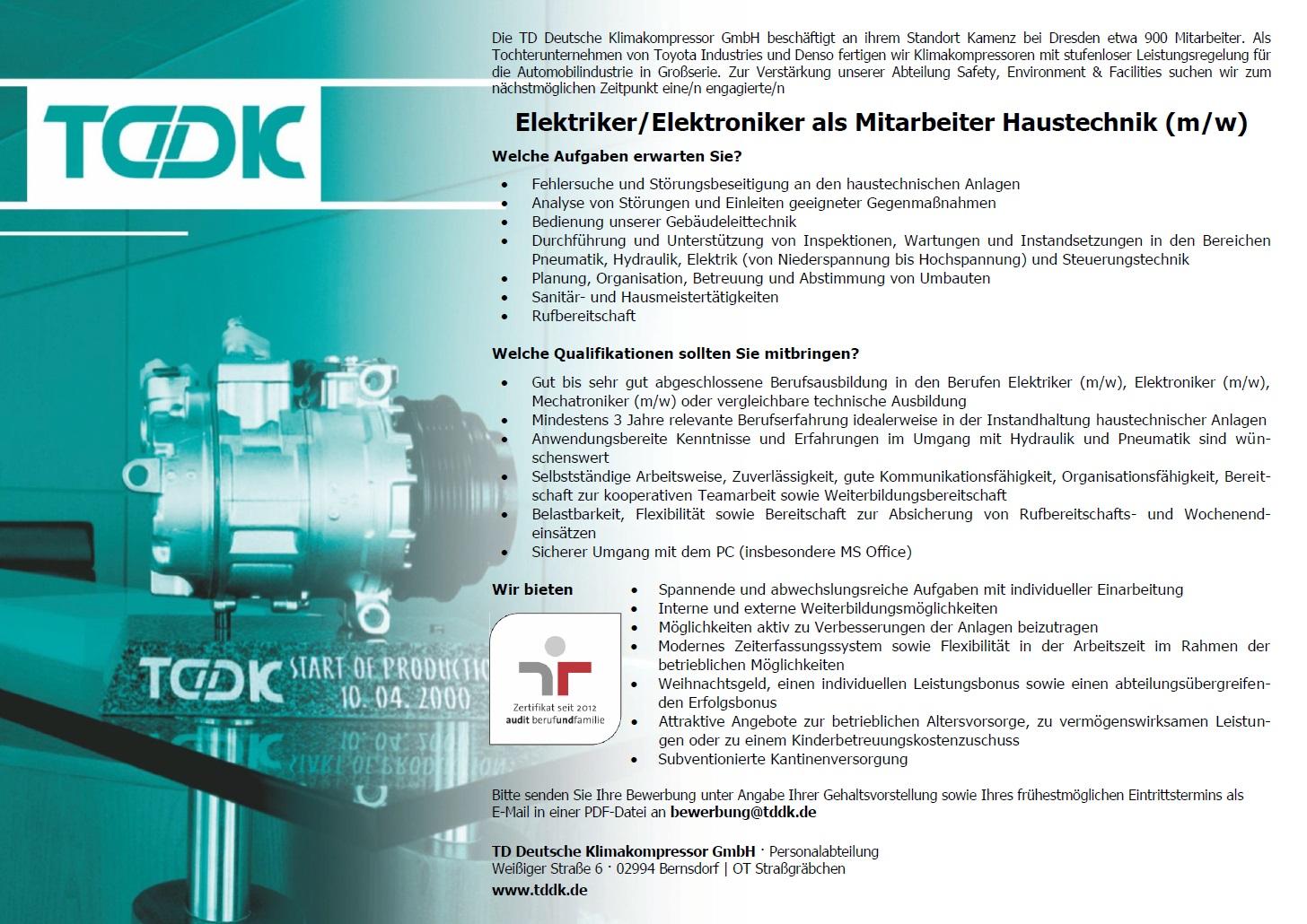 TDDK - Elektriker / Elektroniker als Mitarbeiter (m/w) in der Haustechnik