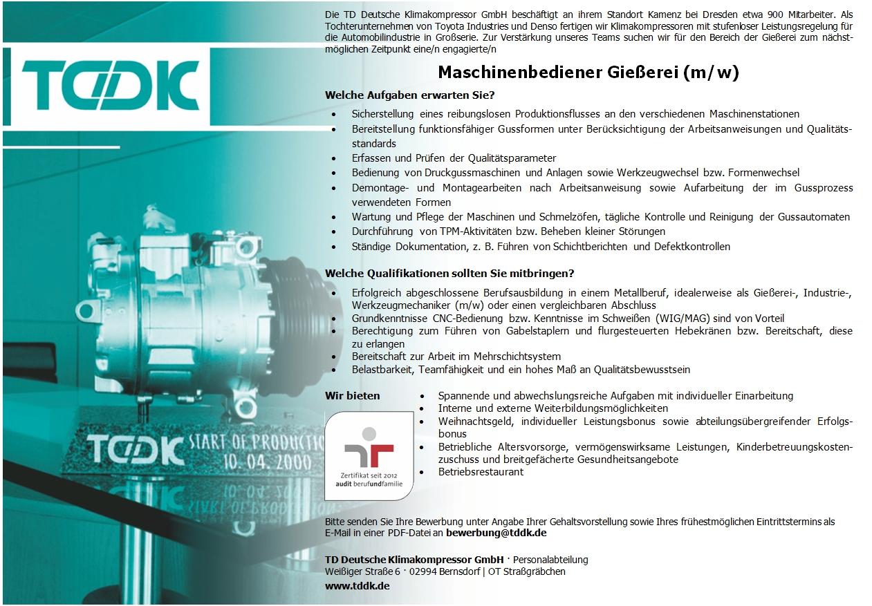 TDDK - Stellenangebote - Maschinenbediener Gießerei (m/w)