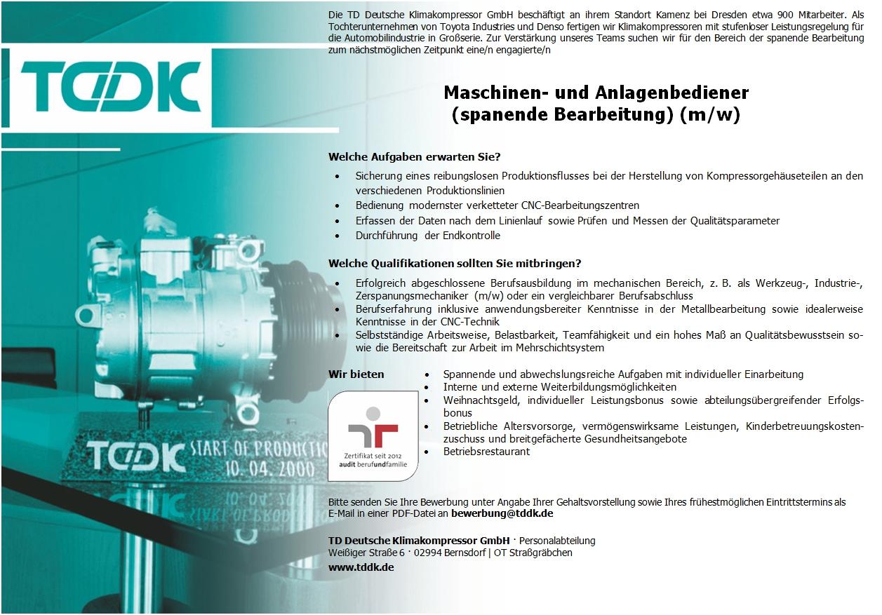 TDDK - Stellenangebot - Maschinenbediener spanende Bearbeitung