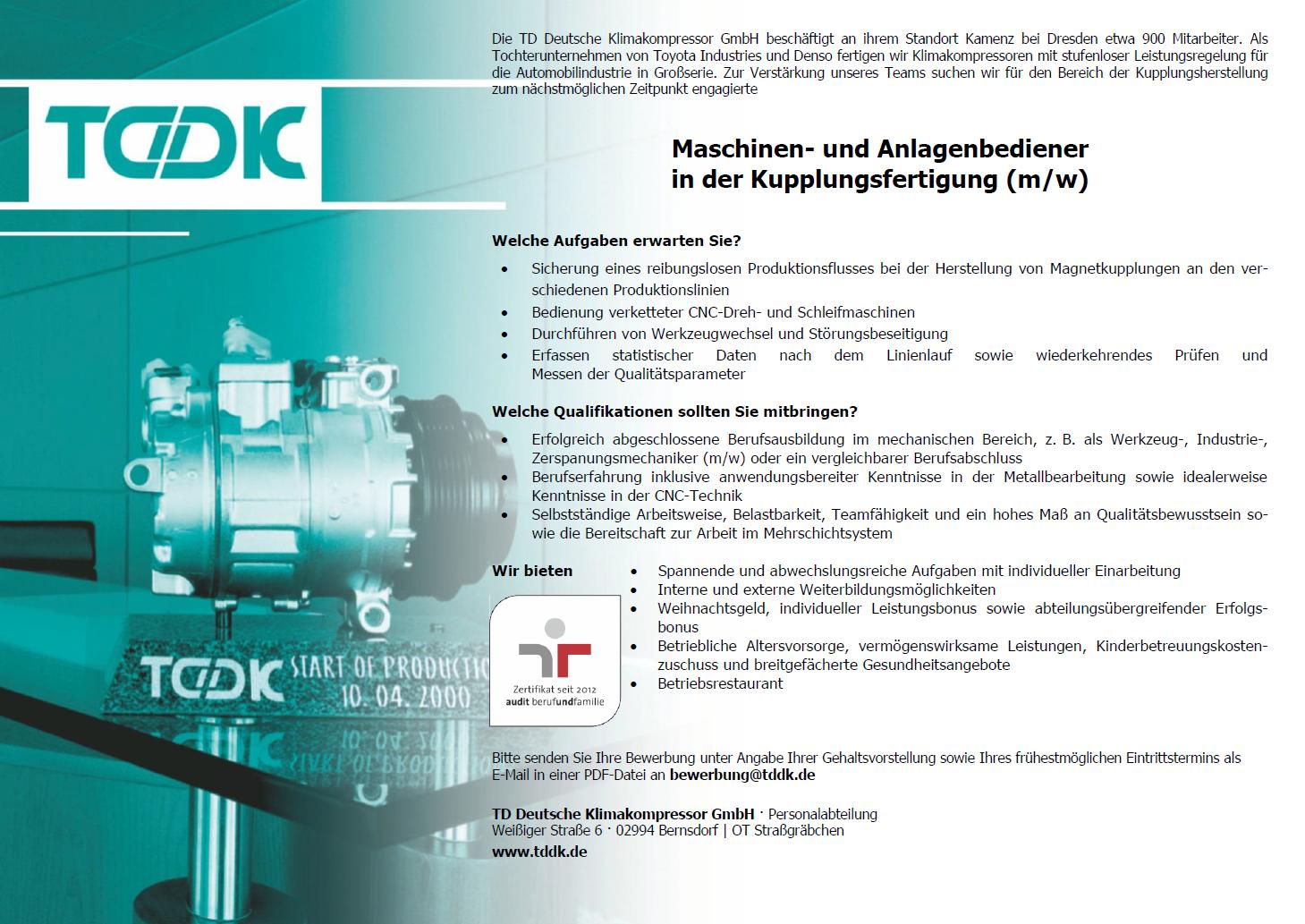TDDK - Stellenangebot - Maschinen- und Anlagenbediener/in in der Kupplungsfertigung