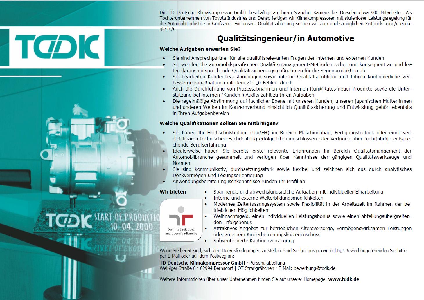 TDDK - Stellenangebote - Qualitätsingenieur/in Automotive