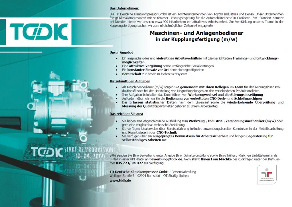 TDDK - Stellenangebot - Maschinen- und Anlagenbediener (m/w) in der Kupplungsfertigung