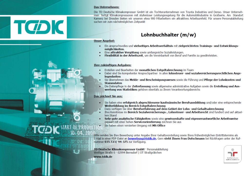 TDDK - Stellenangebote - Lohnbuchhalter/in