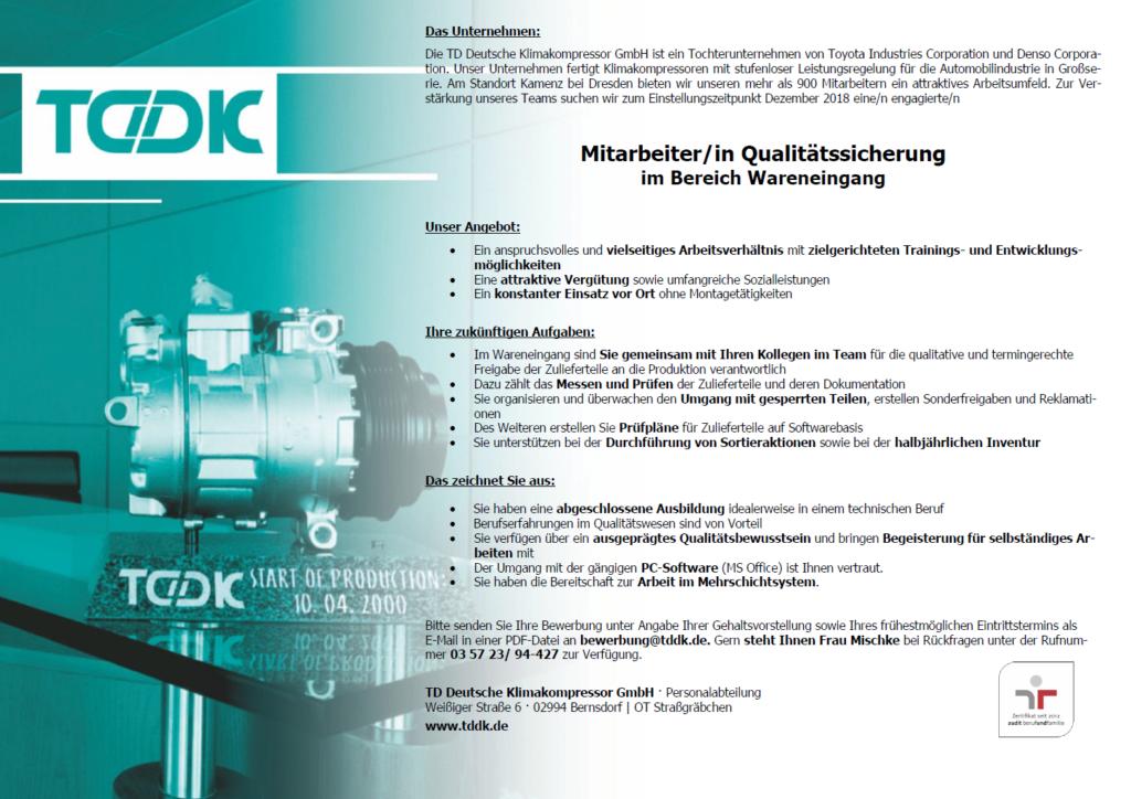 TDDK - Stellenangebote - Mitarbeiter/in Qualitätssicherung im Wareneingang
