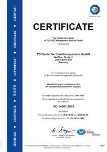 TDDK - Zertifikat - ISO 14001