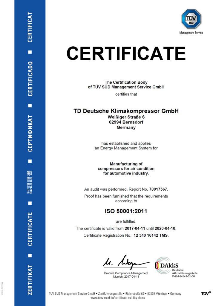 TDDK - Zertifikat - ISO 50001