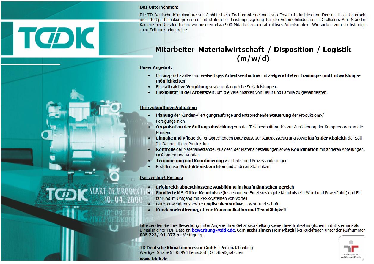 TDDK - Stellenangebote - Materialwirtschaft / Disposition / Logistik