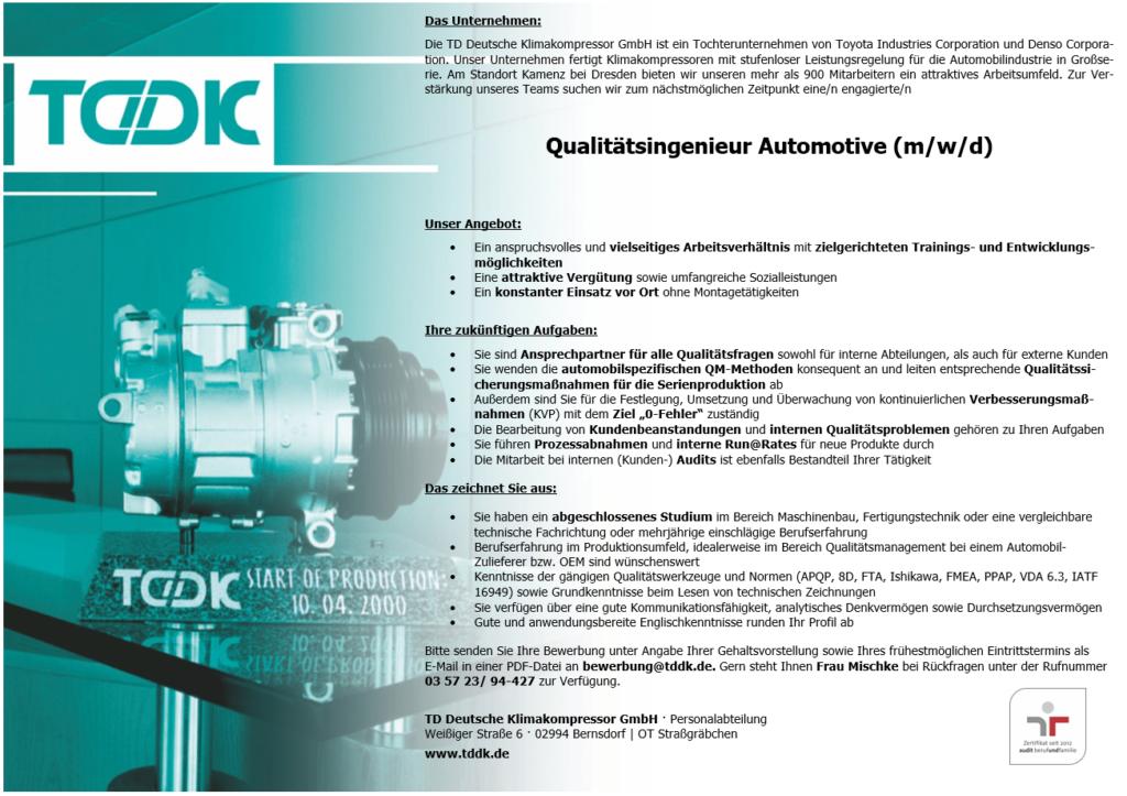 TDDK - Stellenangebote - Qualitätsingenieur Automotive mwd