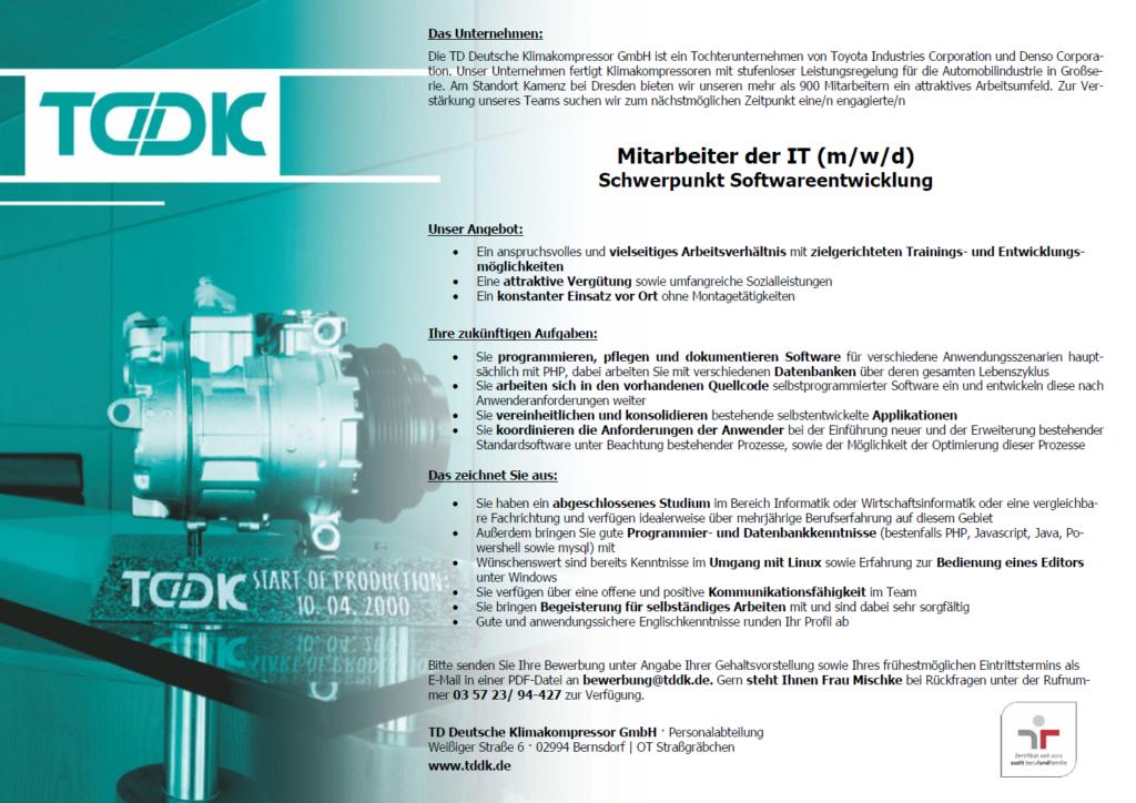 TDDK - Stellenangebote - Mitarbeiter der IT (m/w/d) Schwerpunkt Softwareentwicklung