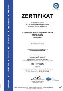 TDDK - Zertifikate - ISO 14001